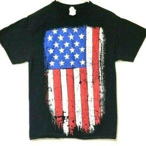 T Shirt American Flag Graphic Patriotic Black Red